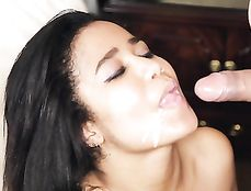 Cute Black Spinner Rides His White Rod And Makes Him Cum