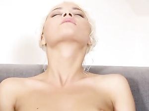 Tanned Blonde Solo Girl Closes Her Eyes And Masturbates