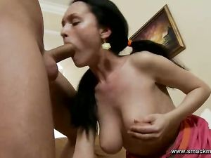 Pushing Cock Into That Lusty Teenage Throat