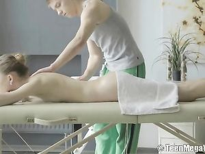 Perfect Lean Teen Babe Sucks Cock On The Massage Table