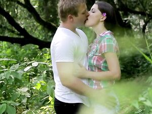 Nymph And Her Man Making Sweet Love In The Woods