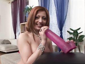 Trashy Redhead Fucks Her Pussy Stretching Sex Toy