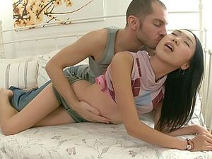 Pink Panties Pulled Aside For Asian Pussy Fucking