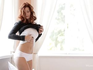 Horny Solo Redhead In A Sweater And Panties